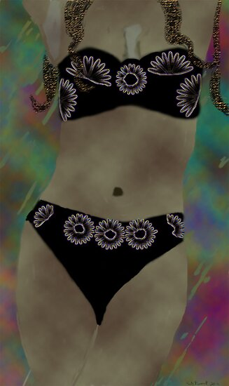 Black bikini abstract woman  by kreativekate