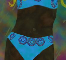 Turquoise Bikini abstract woman  by kreativekate