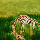 Mother and baby Girraffe, watercolor by Anna  Lewis