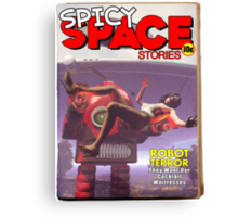 Spicy Space Stories Fake Pulp Cover Canvas Print
