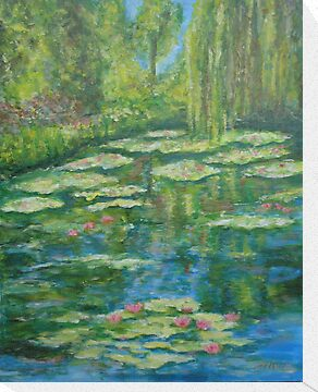 Water Lily pond with weeping willow by olivia-art