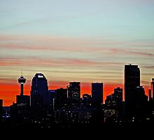 Calgary Sunset and City Silhuette by Laurast