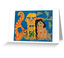 'Mermaid Twins' - whimsical sirens of the sea. Greeting Card