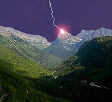 Lightning in Glacier National Park by StonePics