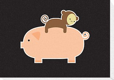 Baby Monkey Riding Backwards on a Pig - Black Bg by imaginarystory