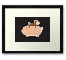 Baby Monkey Riding Backwards on a Pig - Black Bg Framed Print