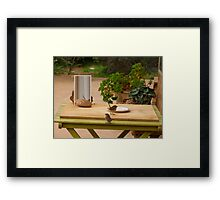 'WHATS ON THE MENU TODAY!' two imm. Superb Blue Wrens. Framed Print
