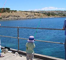 'WAS THAT A TINY NIBBLE!' Starting young, Victor Harbour. S.A. by Rita Blom