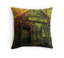 Spooky Grist Mill in Oil Throw Pillow