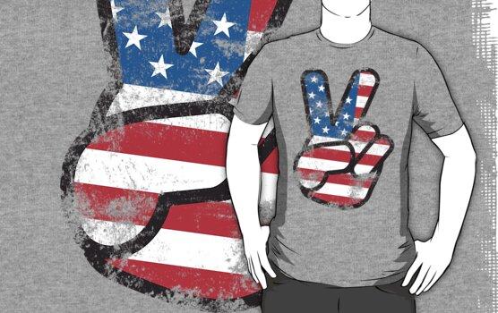 Retro American Peace Shirt by 785Tees