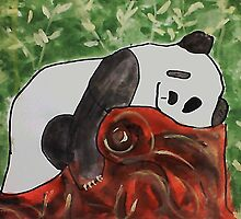 Panda Bear sleeping on a log, watercolor by Anna  Lewis