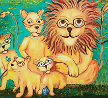 Lions Wearing Glasses by Linda Diane Taylor