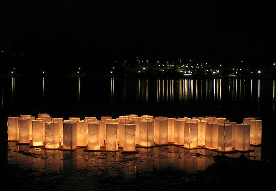 Bon Odori Lanterns Afloat on Lake by nwexposure