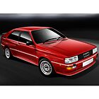 Red Audi Quattro Coupe Poster by Autographics