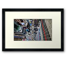 Manhattan in motion - bird's eye Times Square Framed Print