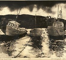 Staithes Etching Work in Progress by Randy Sprout