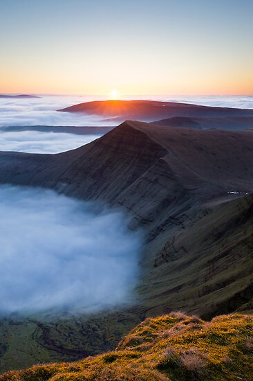 Sunrise over Cribyn, Brecon Beacons National Park, Wales. by Justin Foulkes