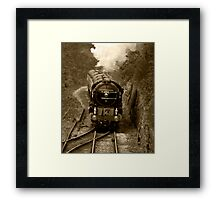 Tornado steam train in b&w Framed Print