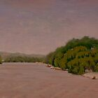 Landscape Painting - View Along the Great River Road II - oil en plein air by Daniel Fishback