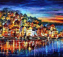 Night Harbor - original oil painting on canvas by Leonid Afremov by Leonid  Afremov