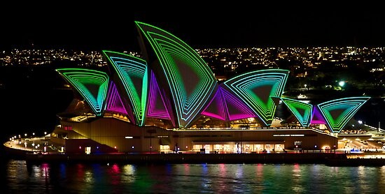 Time Tunnel Sails - Sydney Vivid Festival - Sydney Opera House by Bryan Freeman