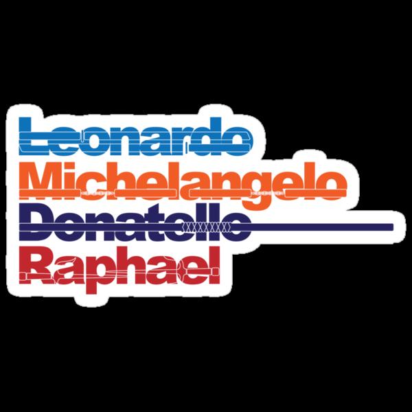 Leonardo, Michelangelo, Donatello, Raphael by D4N13L