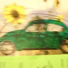 Green VW Beetle &amp; Sun Flowers by Della  Badart