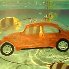 Orange VW Beetle &amp; Sun Fish by Della  Badart