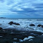 Moeraki Boulders ... night closing in around us. by Kerri  Arthur