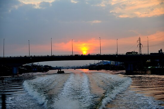Sunrise over the Saigon River, Ho Chi Minh City, Vietnam by Sheldon Levis