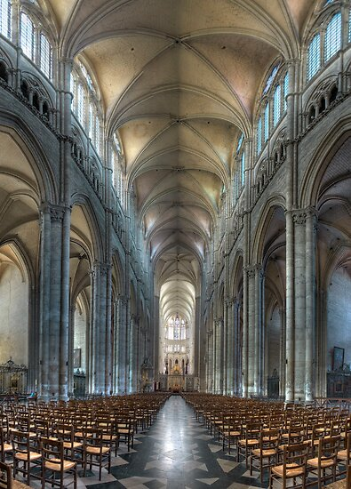 Nave, Amiens Cathedral, Somme, France by Bob Culshaw