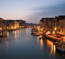 Night Traffic on the Grand Canal by Mattia Oselladore
