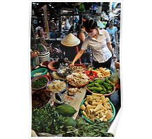 Woman shopping at fresh vegetable market. Vung Tau, Vietnam Poster
