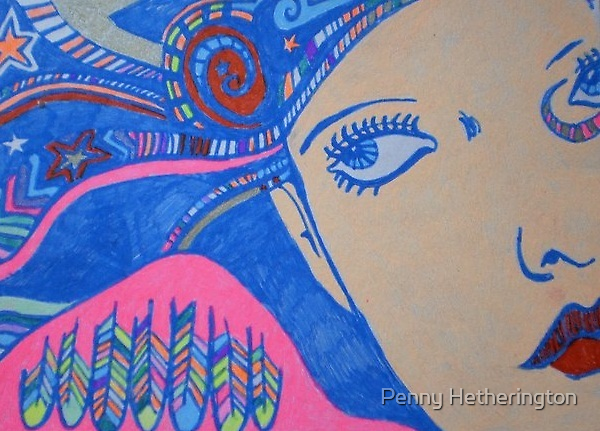 Colourful Angel Face by Penny Hetherington