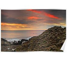 Sunset at Giants Causeway. Poster