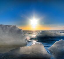 Sun over a Frozen Lake by Johannes Enevoldsen