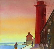Grand Haven Sunset by Lora Garcelon