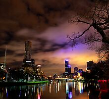 """Yarra River and Melbourne Night Skyline"" by Jenna Florescu"