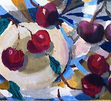 Still life with cherries and tablecloth by xangac
