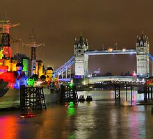 HMS Belfast and Tower Bridge - HDR by Colin J Williams Photography