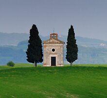 Chapel Vitaleta, Val D'orcia, siena by Nigel  Dean