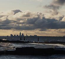 Kids on the jetty - Lake Erie, west of Cleveland by lpizzuli