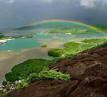 Rainbow from Sokehs Rock - Pohnpei, Micronesia by Alex Zuccarelli