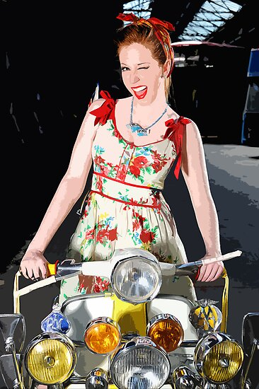 Cheeky Scooter Gal Wink ;-) by Smudgers Art