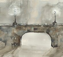 Greeting Card - Bridge at Night Time - Glasgow, Watercolour - Sam Austrin-Miner by Sam Austrin-Miner