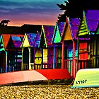 beach huts pop Art by Adrianbennet