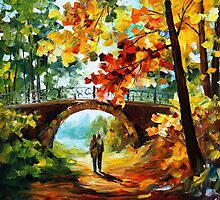 Sunny Path - original oil painting on canvas by Leonid Afremov by Leonid  Afremov