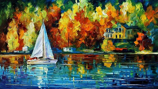 Morning River - original oil painting on canvas by Leonid Afremov by Leonid  Afremov