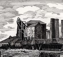 186 - NEW HARTLEY COLLIERY - DAVE EDWARDS - INK - 1991 by BLYTHART