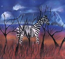 A Stormy Night For A Zebra by Caroline  Peacock